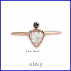 14K Gold Genuine Rose Cut White And Black Diamond Wedding Ring Fine Jewelry