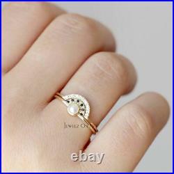 14K Gold Genuine White-Black Diamond And Freshwater Pearl Crown Wedding Ring