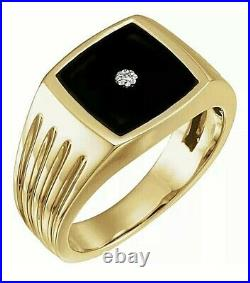14K Solid Yellow Gold Genuine Onyx Men's Ring With Real Diamonds Value $1995