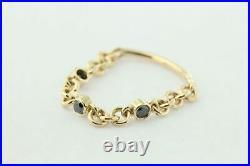 14K Yellow Gold 0.12 Ct. Three Black Genuine Diamond Chain Ring Size-5 US