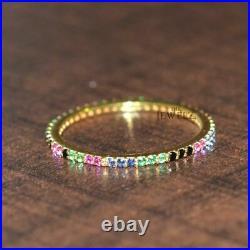 14K Yellow Gold Genuine Black Diamond And Multi Sapphire Eternity Band size 5