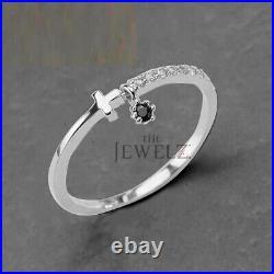 14k Gold 0.10 Ct. Genuine White And Black Diamond Cross Design Dangle Fine Ring