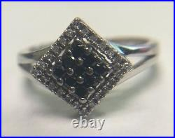 14k Solid White Gold Black And White Genuine Diamond Square Cluster Ring Sz7.25