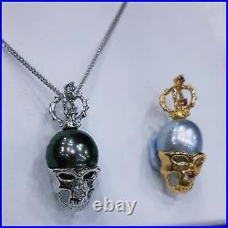 14k solid gold diamond skull pendent genuine Tahitian Pearl South Sea pearl