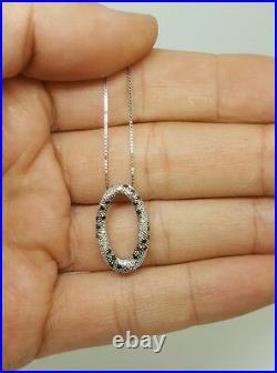 14k white gold genuine white & black diamond oval shape pendant and linked chain