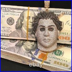 19.00 CT 14K Yellow Gold Real Black-VS/F Diamond Iced Michael Myers Chain 171.3g