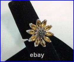 2.00 CTW Genuine Citrine & Black Diamonds 10KT White Gold Ring Size 8 NEW