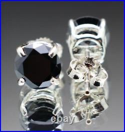 2.00tcw Real Natural Black Diamond Stud Earrings AAA Grade & $1200 Value