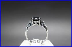 2.13cts 8.42mm Real Natural Black Diamond Size 7 Scroll Ring & $1265 Value