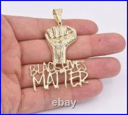 2 3/4 Black Lives Matter Fist Pendant Diamond Cut Real 10K Yellow Gold