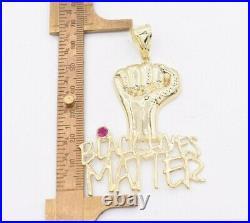 2 3/4 Black Lives Matter Fist Pendant Diamond Cut Real 10K Yellow White Gold