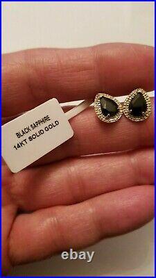 2.35 Ct Genuine Black Sapphire &1/5 Ct Diamond 14kt Solid Y Gold Earrings Stud