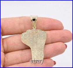 2 Black Lives Matter Fist Pendant Diamond Cut Real 10K Yellow Gold