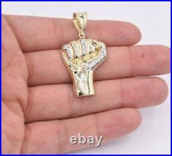 2 Black Lives Matter Fist Pendant Diamond Cut Real 10K Yellow White Gold