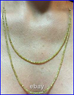 24ct genuine long double faceted canary yellow diamond 14k gold necklace