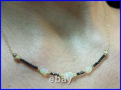 2ct genuine black diamond and 1ct Ethiopian fire Opal necklace solid 14k gold
