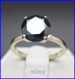 3.00cts Real Natural Black Diamond 10k Yellow Gold Engagement Ring $2300 Value
