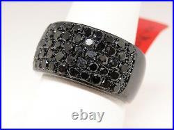 3 Ct Mens Ladies Black on Black PVD Genuine Diamond Pinky Ring Band