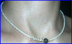 3ct genuine faceted round black 7mm diamond with seed pearl solid 14k necklace