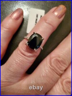 4.62 Ct Genuine Black Sapphire & Diamond 10kt Solid White Gold Ring Size 7