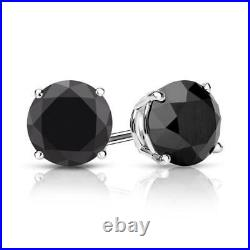 4 CT Black Diamond Stud Earrings Real 14K Solid White Gold Screw Back
