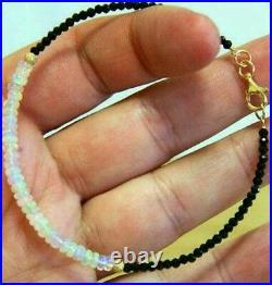 4ct Genuine Black Diamond 4ct Ethiopian Fire Opal 14k gold bracelet
