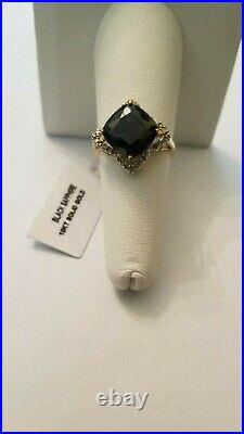 5.62 Ct Genuine Black Sapphire & Diamond 10kt Solid Yellow Gold Ring Size 7