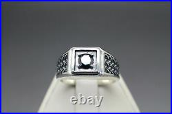50cts Men's REAL Natural Black Diamond Ring Size 9-11 & $500 Retail Value