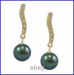 8-9mm Tahitian Black Pearl Dangle Earrings in 14K Yellow Gold & Genuine Diamond