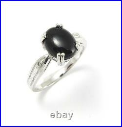 8x10mm Genuine Natural Black Coral & Diamond Ring Set In Solid 14k White Gold