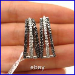 925 Sterling Silver Real White & Black Diamond Hoop Earrings