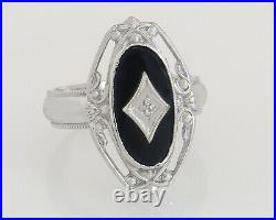 Antique 14K White Gold Genuine Diamond & Black Onyx Art Deco Ring Size 5.75
