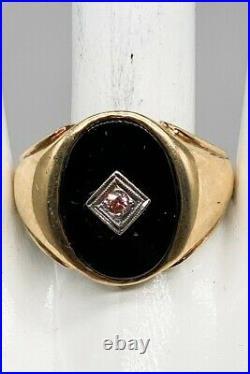 Antique 1950s 7ct Genuine BLACK ONYX PINK Diamond 10k Yellow Gold Mens Ring Band