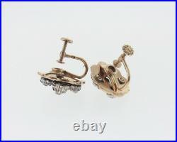 Antique Genuine 1.00ct Old Cut Diamonds 14k Yellow Gold Black Enamel Earrings
