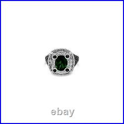 Arusha Exotics Ring Pistachio Diopside Black/White Diamonds 14K Vanilla Gold