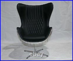 Aviator Aviation Egg Chair Black Real Leather With Diamond Stitching Aluminium
