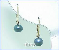 BLACK PEARL AND DIAMOND DANGLE LEVERBACK EARRINGS REAL SOLID 14 k GOLD 1.5 g