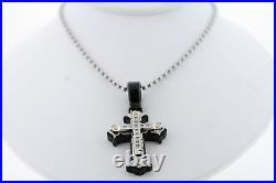 Black & Blue Jewelry Co. Stainless Steel. 06ctw Genuine Diamond Cross Necklace