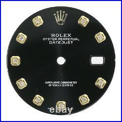 Black Diamond Dial for Rolex Datejust 36mm Two-Tone Genuine Diamonds 16233 16013