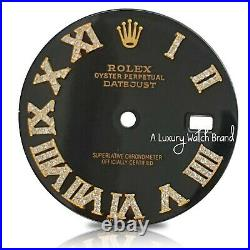 Black Diamond Roman Numeral Dial for Rolex Datejust 36mm Watch REAL DIAMONDS