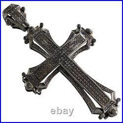 Black PVD Sterling Silver Real Black Diamond Cross Pendant 3 Pave Charm 0.55 CT