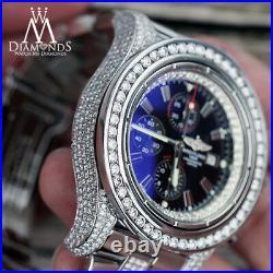 Breitling Super Avenger Black Stick Dial with Custom Genuine Diamonds A13370