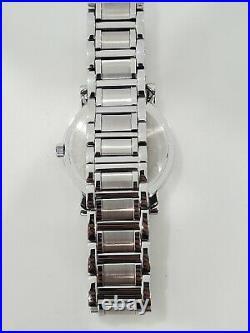 Bulova Real Diamonds 42mm men's watch silver tone 96E04 multifunction blk face