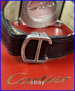 Calibre De'Cartier Men's Steel Watch 42mm Iced Out 3ct Genuine Diamonds Ref 3299