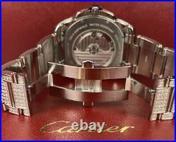 Calibre De'Cartier Men's Steel Watch 42mm Iced Out 8ct Genuine Diamonds Ref 3389