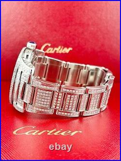 Cartier Calibre Men's Steel Watch 42mm Iced Out 12ct Genuine Diamonds Ref 3389