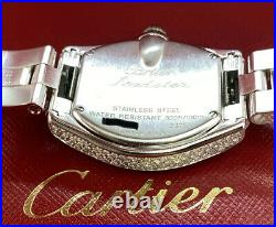 Cartier Roadster Ladies SS Watch 31mm Iced Out 7ct Genuine Diamonds Ref W62016V3