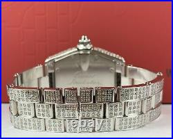 Cartier Roadster Men's Watch 35mm Iced Out 12ct Genuine Diamonds 2510