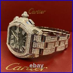 Cartier Roadster XL Chronograph Men's Watch 40mm Iced 12ct Genuine Diamonds 2618