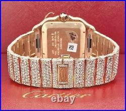Cartier Santos Large 18k Pink Gold 39.8mm Iced 25ct Genuine Diamonds WGSA0009
